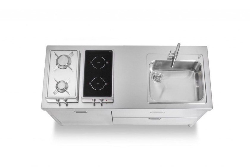 Contemporary style linear custom steel kitchen unit ELEMENTI CUCINA 160 | Contemporary style kitchen by ALPES-INOX