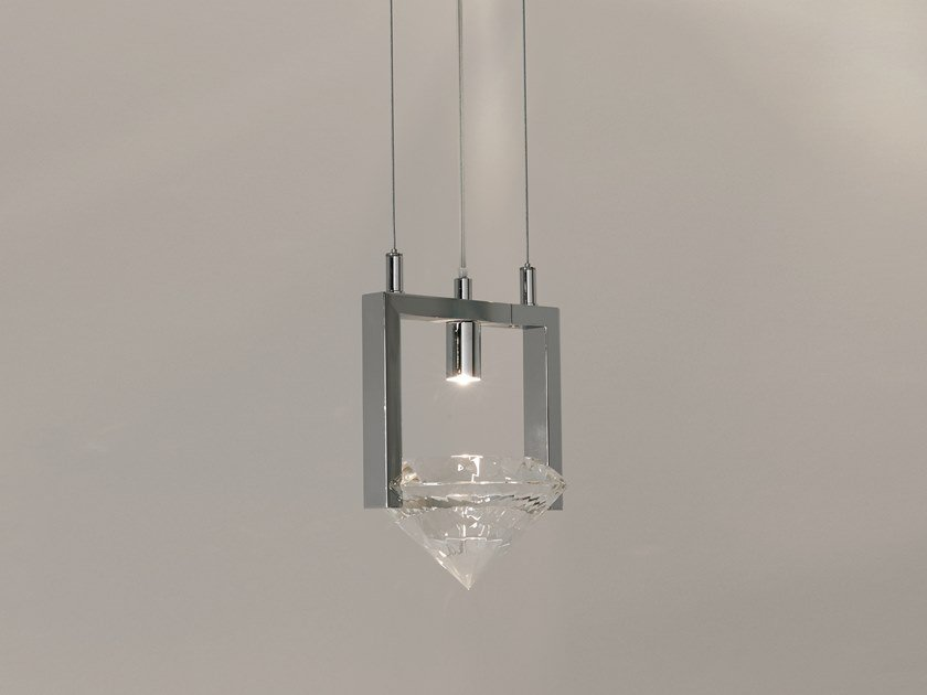 Direct light metal pendant lamp with crystals ELEMENTS OF LOVE H1 by ILFARI