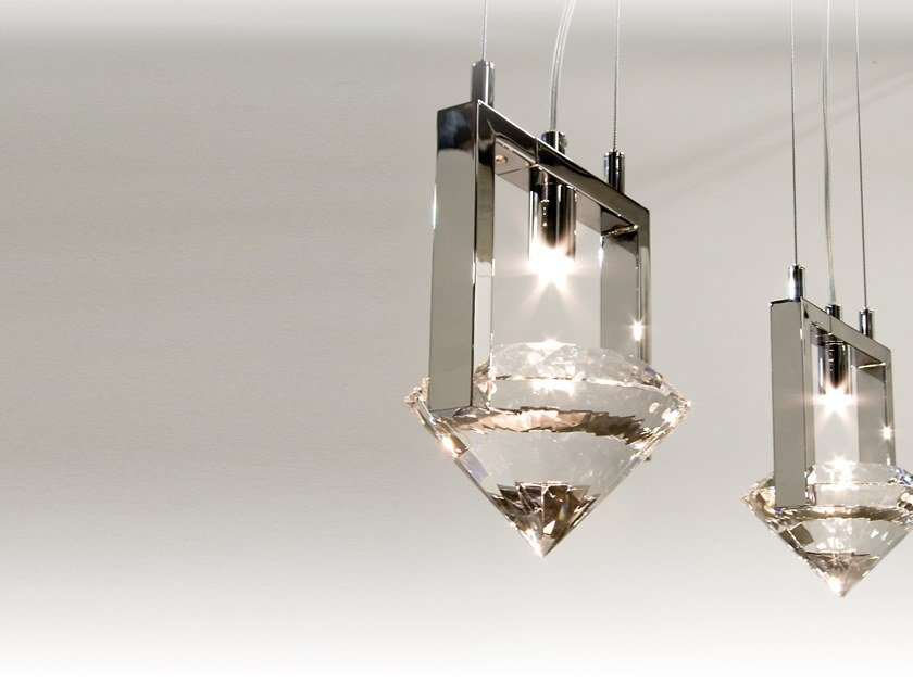 Direct light metal pendant lamp with crystals ELEMENTS OF LOVE H2 by ILFARI
