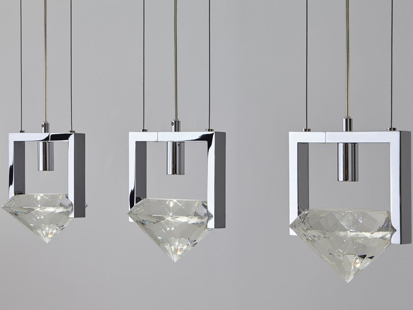 Metal pendant lamp with crystals elements of love h3 by ilfari