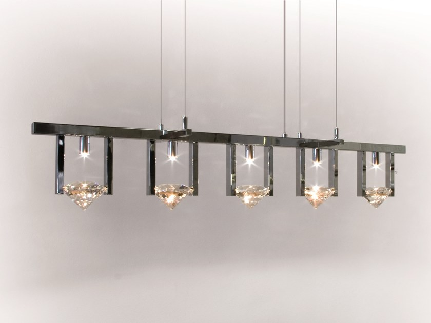 Direct light metal pendant lamp with crystals ELEMENTS OF LOVE H5L by ILFARI