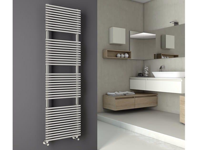 Hot-water glossy steel decorative radiator ELEN | Glossy steel towel warmer by CORDIVARI