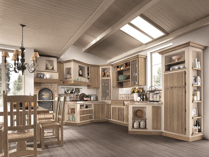Ash kitchen with integrated handles ELENA by Cucine Lube