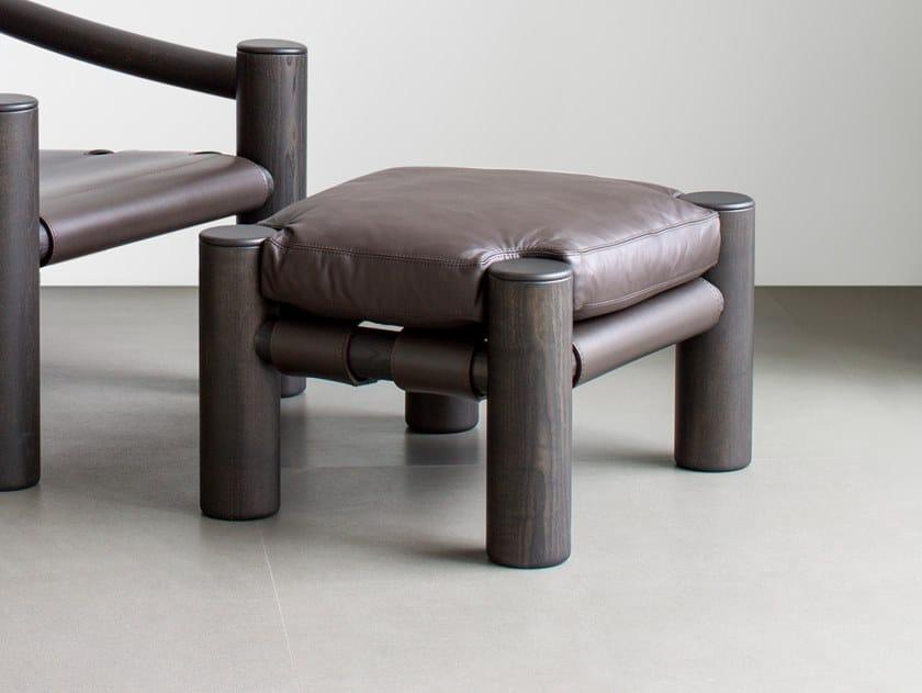 Poggiapiedi in legno massello e pelle ELEPHANT   Poggiapiedi by Tacchini