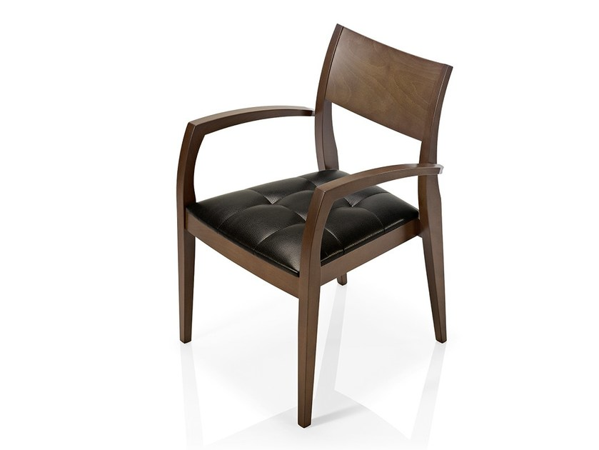 Leather chair with armrests ELIE | Chair with armrests by JMS