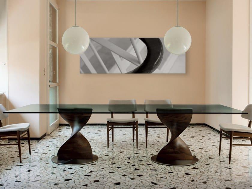 Rectangular solid wood table and crystal top ELIKA | Rectangular table by Porada