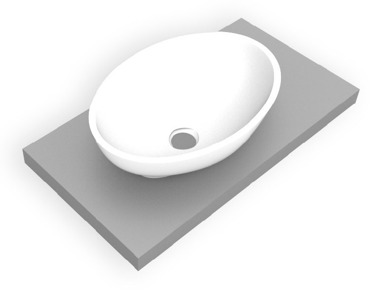 Countertop oval Corian® washbasin ELIPSE by AMA Design