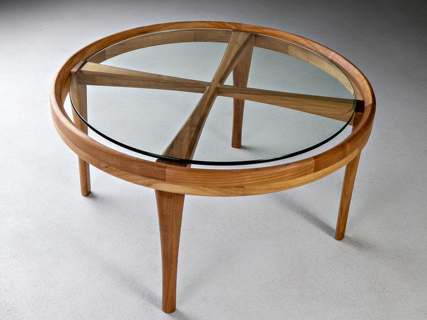 Round Wood And Glass Coffee Table Elisa By Hookl Und Stool Design Aleksandar Ugresic
