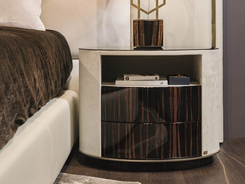 Oval leather bedside table ELISE by Longhi