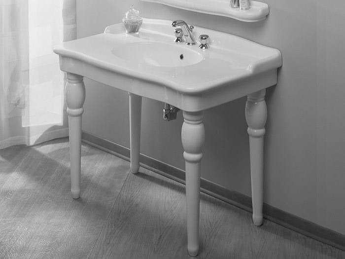 Console ceramic washbasin ELLADE   Washbasin with overflow by Hidra Ceramica