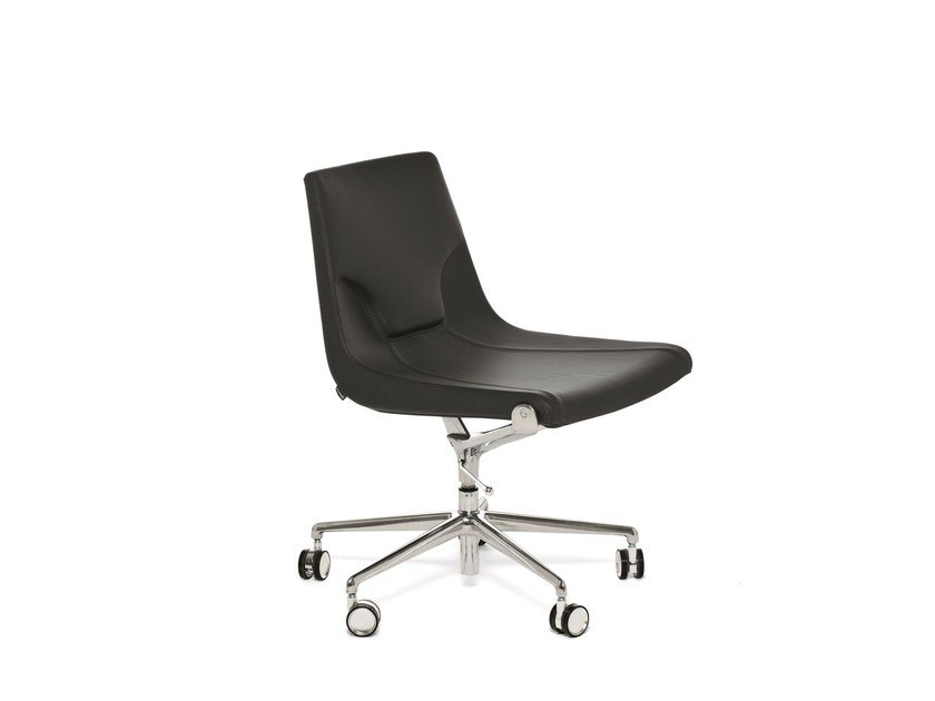 Leather task chair with 5-Spoke base with casters ELLE 01 | Task chair by Emmegi