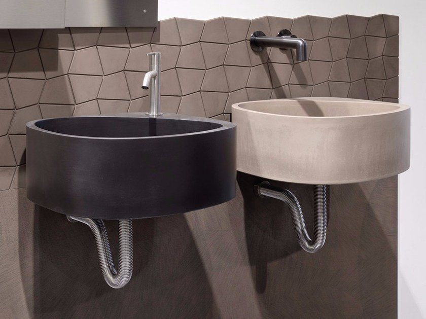 Wall-mounted cement washbasin ELLE3 | Cement washbasin by Moab80