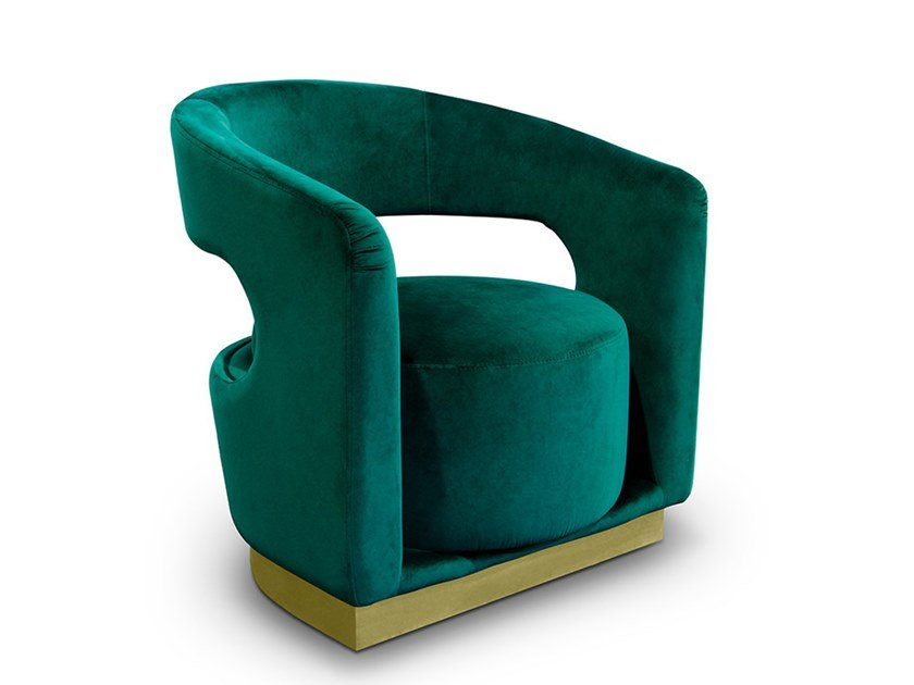 Fabric armchair with armrests ELLEN | Armchair by Delightfull