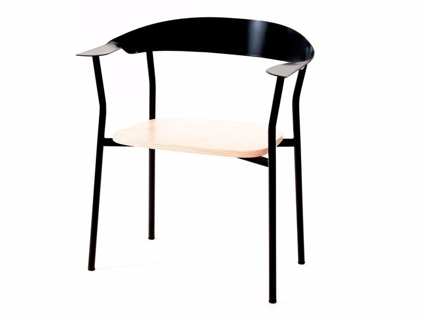 Steel and plywood armchair ELLIS by Officine Tamborrino