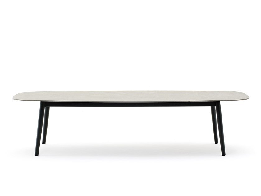 Elliptical garden table ELLISSE LOW by Varaschin