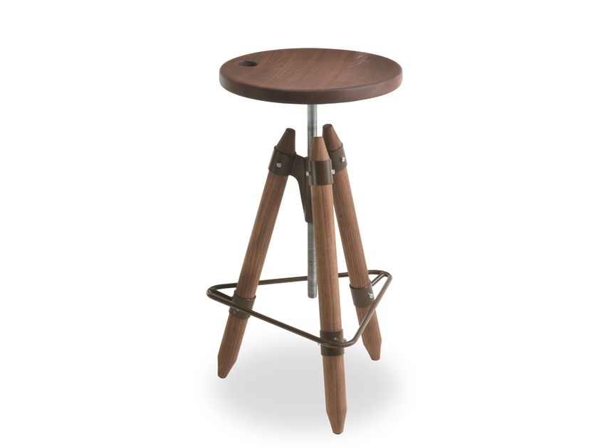 Swivel height-adjustable wooden stool ELLO by Riva 1920