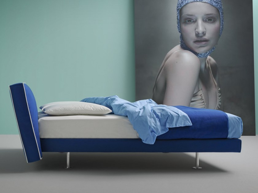 Bed with removable cover with upholstered headboard ELLY by Frauflex