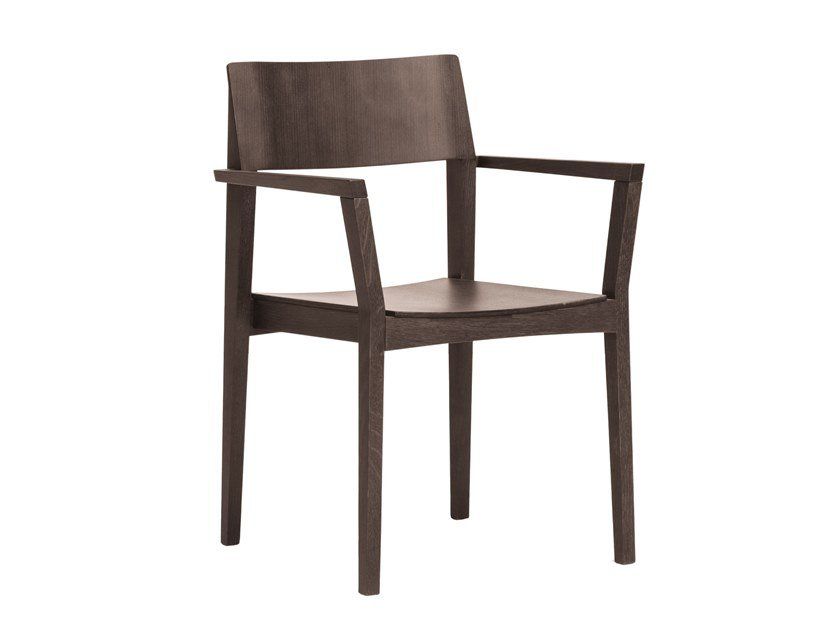 Stackable wooden chair with armrests ELSA | CONTRACT | Chair with armrests by PIAVAL