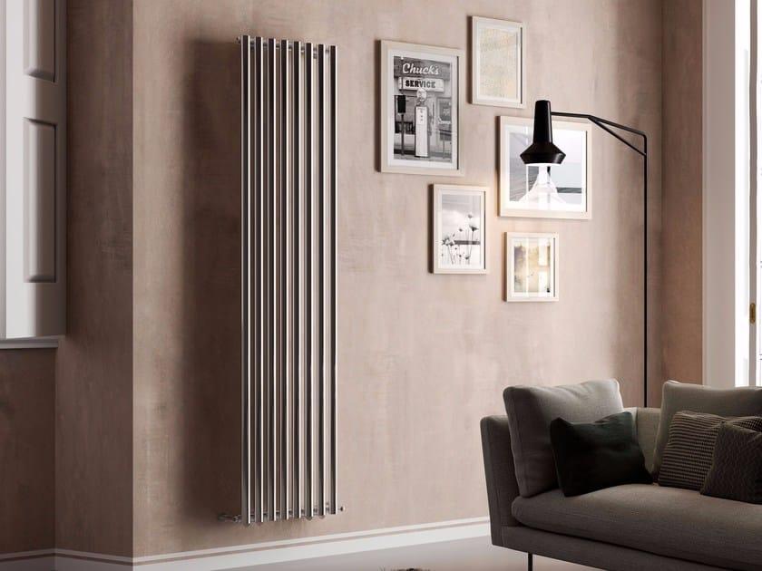 Vertical wall-mounted hot-water stainless steel radiator ELSA by CORDIVARI