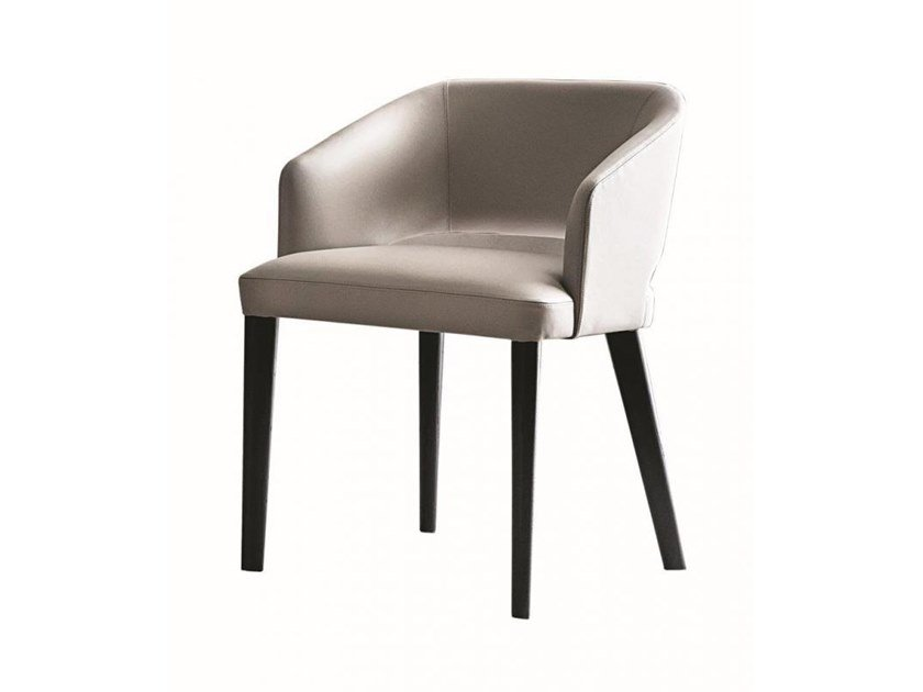 Upholstered leather chair with armrests ELSA by Casamilano