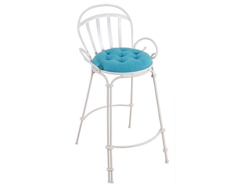 High metal stool with armrests ELU by ALANKARAM