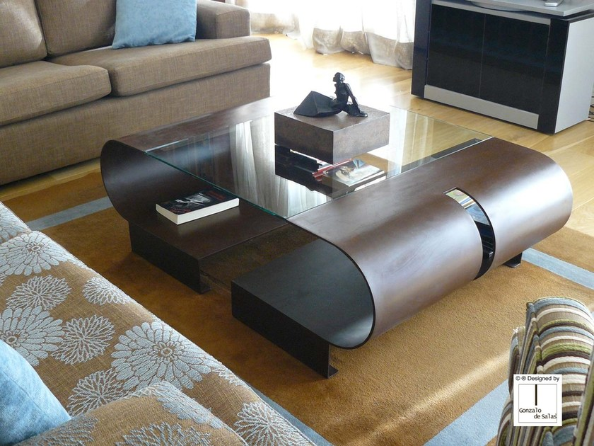 Steel coffee table for living room ELVA by Gonzalo De Salas