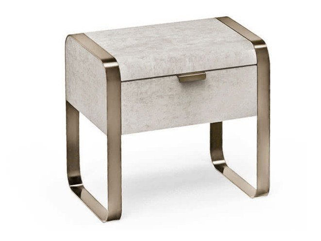 Rectangular leather bedside table with drawers ELVIS | Bedside table by Cantori