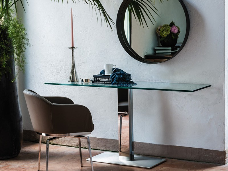 Crystal and stainless steel console table ELVIS | Console table by Cattelan Italia