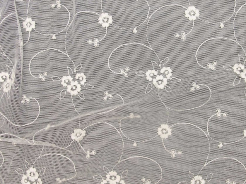Embroidered polyester fabric with floral pattern for curtains EMBROIDERY FLOWERS by Gancedo