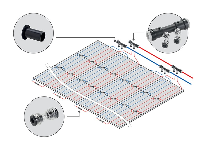 Metal modules heating and cooling system EMMETI RAY MODULE by EMMETI