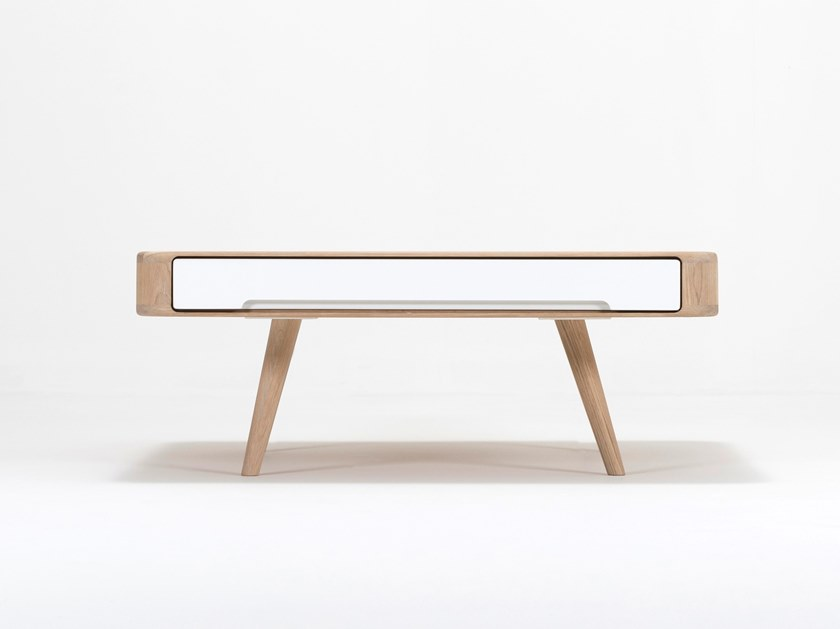 Square oak coffee table with storage space ENA | Coffee table by Gazzda