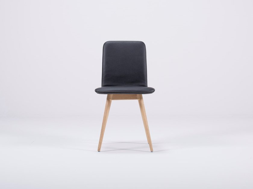 Upholstered leather chair ENA | Leather chair by Gazzda