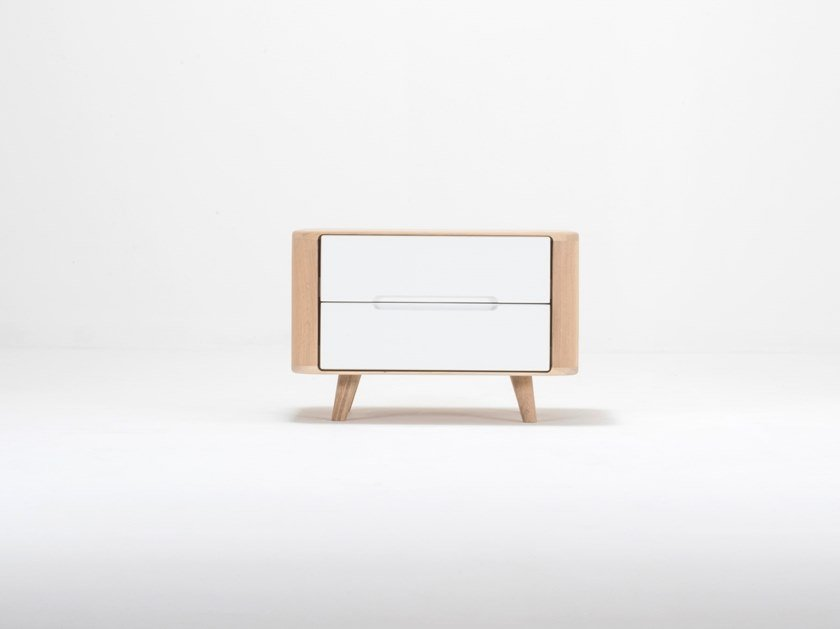 Rectangular oak bedside table with drawers ENA ONE | Bedside table by Gazzda