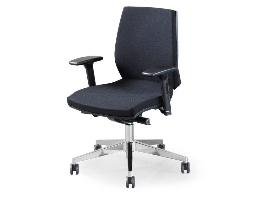 Swivel fabric task chair with 5-Spoke base with armrests ENA OPERATIVE by FANTONI