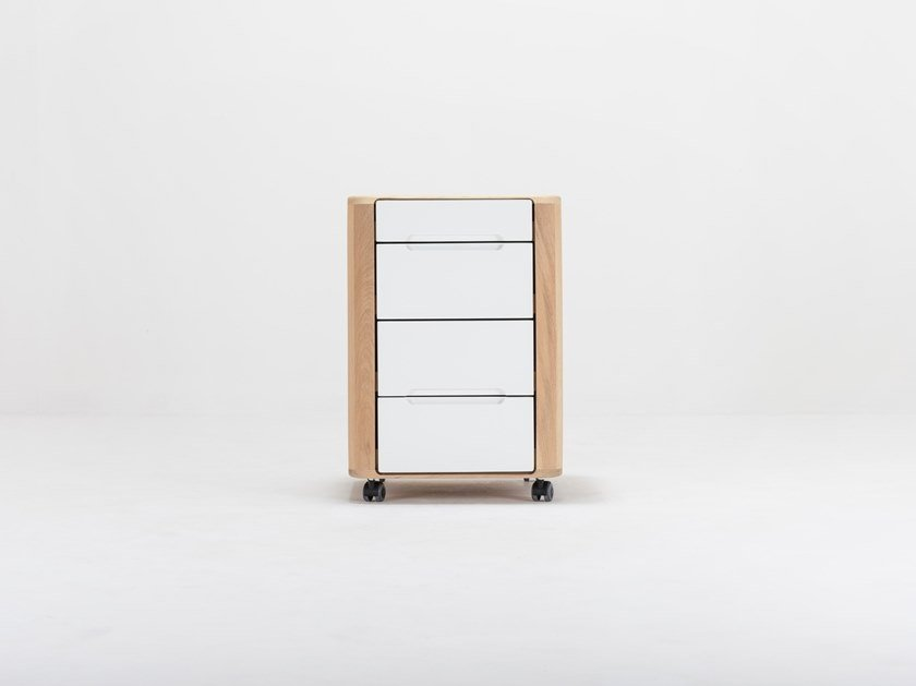 Oak office drawer unit with casters ENA | Office drawer unit by Gazzda