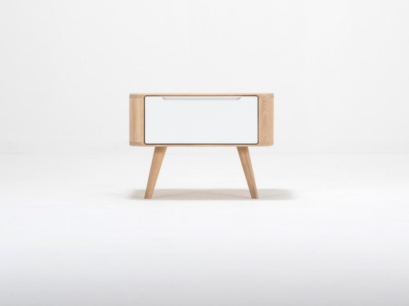Rectangular oak bedside table with drawers ENA TWO | Bedside table by Gazzda