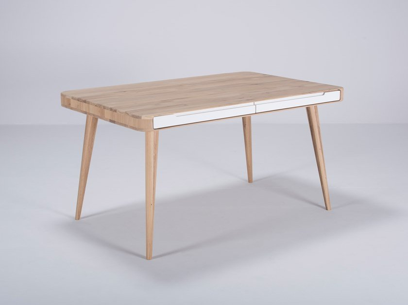 Rectangular oak table with drawers ENA | Table by Gazzda