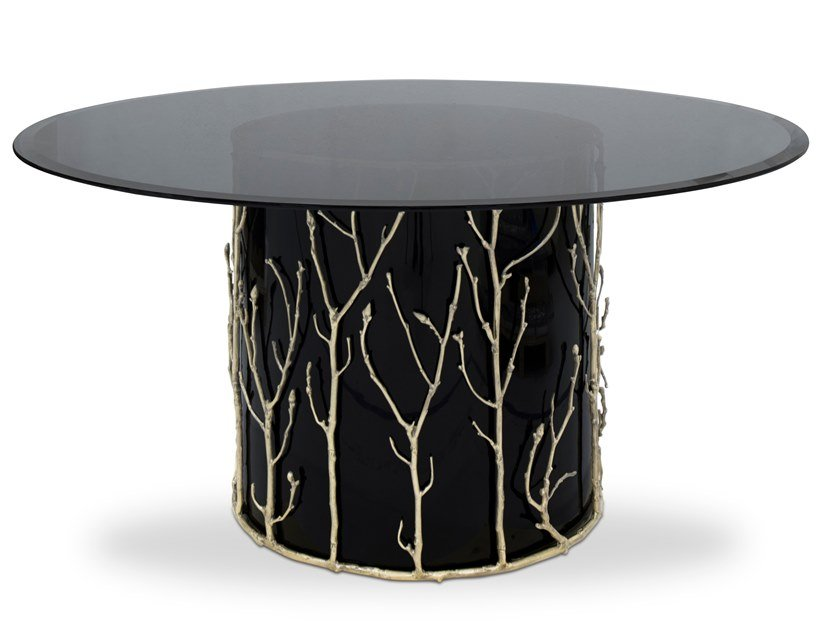 Lacquered round glass table ENCHANTED   Glass table by KOKET