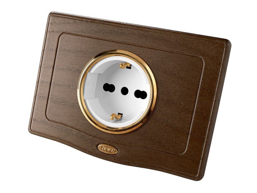 Single wooden electrical outlet ENGLAND STYLE 44 | Electrical outlet by AVE