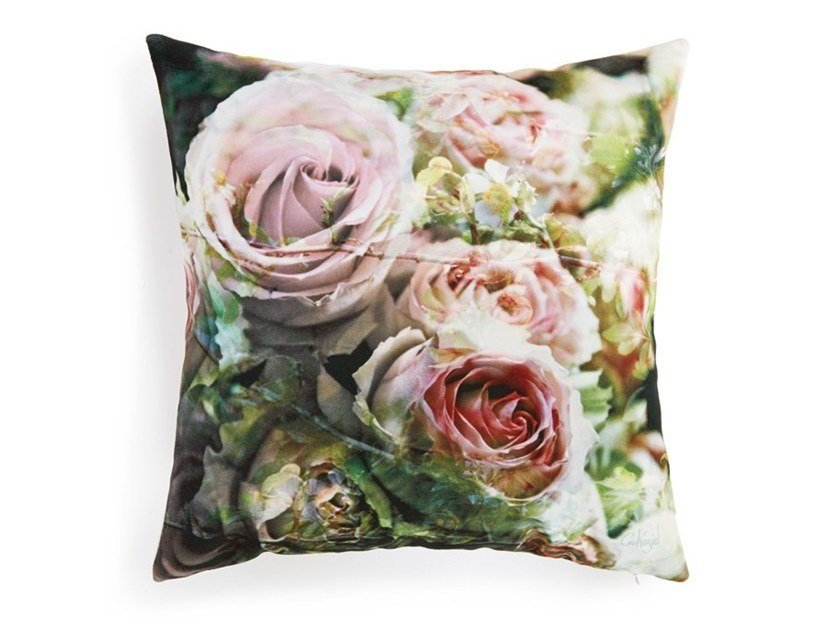 Square cushion with floral pattern ENGLISH ROSES (SERIES 2) by Koziel