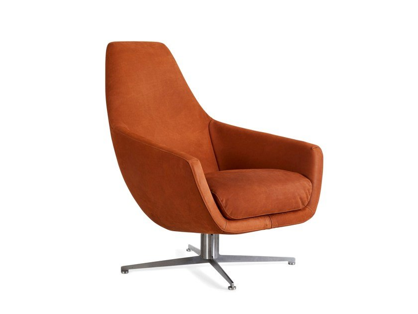 Leather armchair with 4-spoke base with armrests ENZO | Armchair with 4-spoke base by Montis