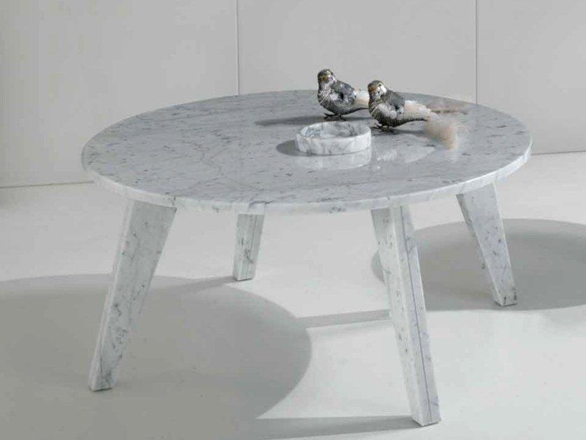 Round Carrara marble coffee table ENZO By International Marmi