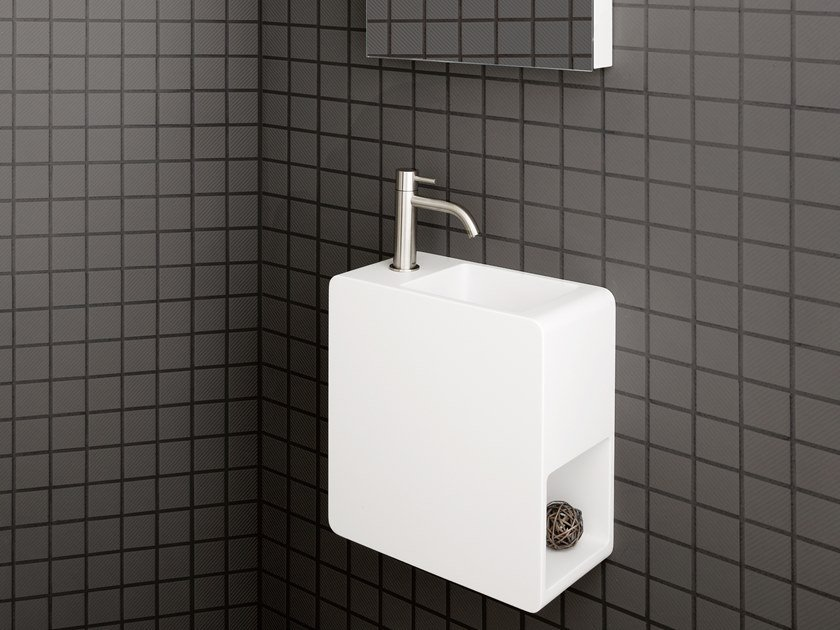 Wall-mounted Cristalplant® handrinse basin EPIC ONE by AQUAdesign