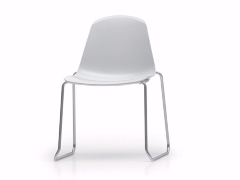 Sled base stackable polypropylene chair EPOCA | Sled base chair by Luxy
