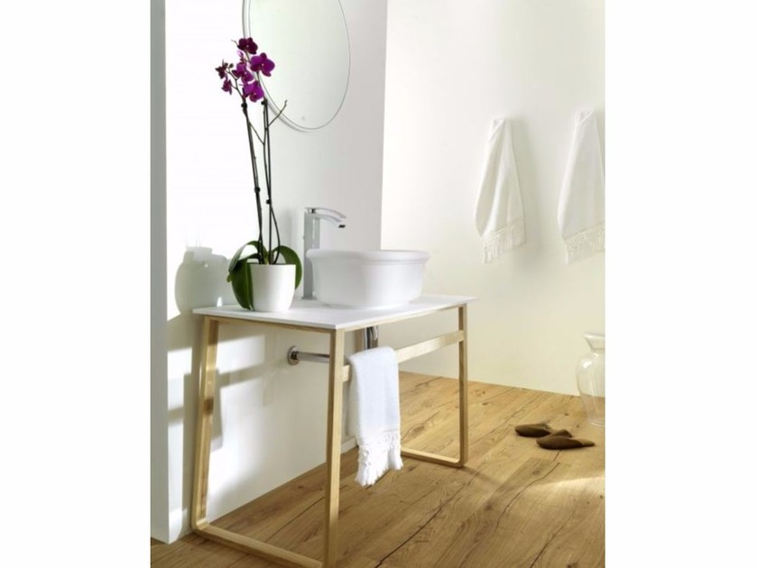 Single washbasin with towel rail EPOQUE | Krion® washbasin by Systempool