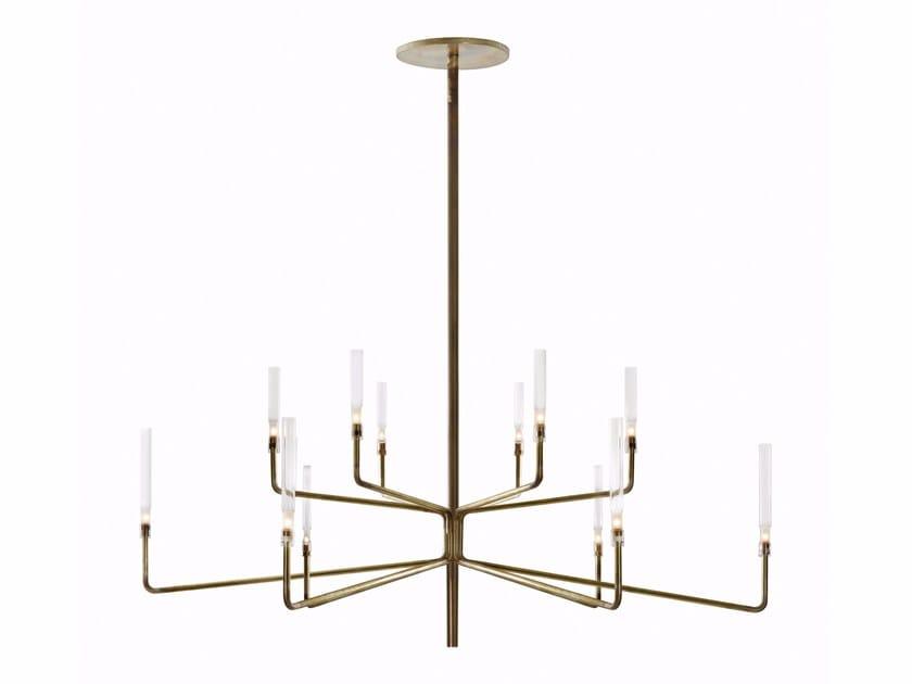 Brass chandelier with dimmer EPSILON by Gallotti&Radice