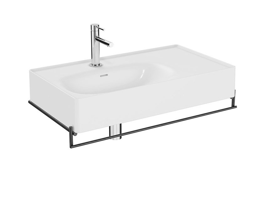 Lavabo sospeso in ceramica con piano con porta asciugamani EQUAL | Lavabo con piano by VitrA Bathrooms