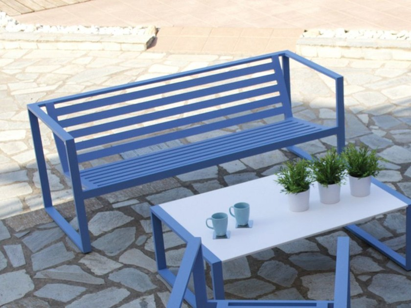 Aluminium garden bench with armrests ERATO | Aluminium garden bench by Efasma