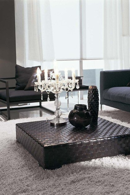 Square leather coffee table for living room ERCOLE TRECY | Coffee table by Frigerio Salotti