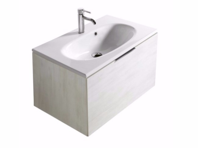 Wall-mounted vanity unit with drawers ERGO - 7162 by GALASSIA